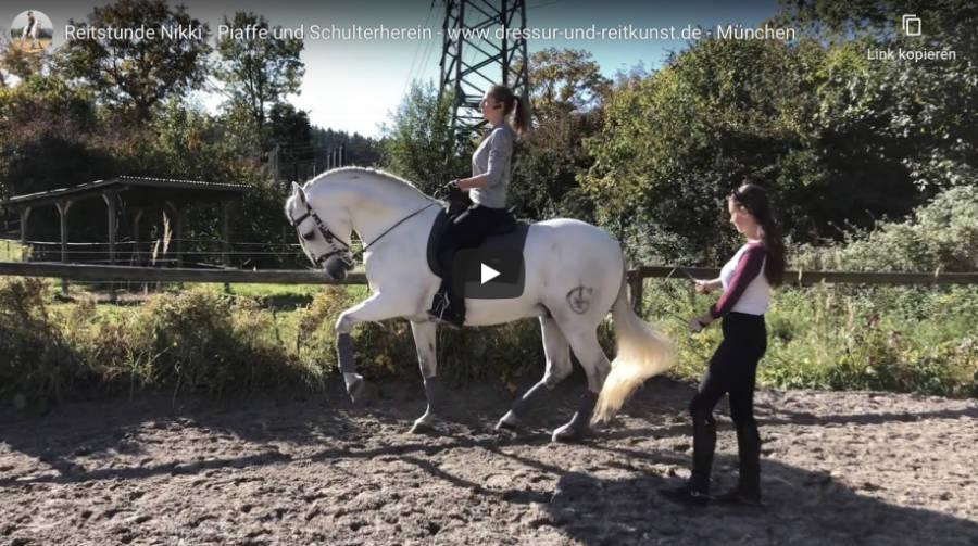 Klassische Dressur in München - Reitstunde Nikki - Piaffe und Schulterherein - Video